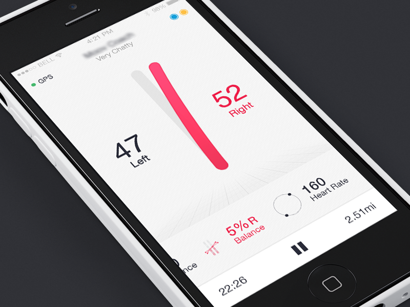 Balance Concept design ui app right left movement tracking fitness balance
