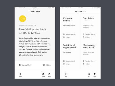 TaskSwipe - Light Theme task lists productivity yellow white ios mobile app typography