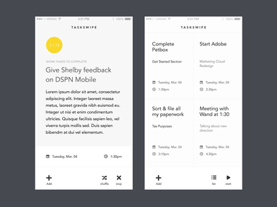 TaskSwipe - Light Theme task lists productivity yellow white ios mobile app typography