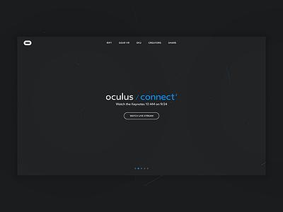 Oculus Connect landing white blue gray facebook web connect oculus