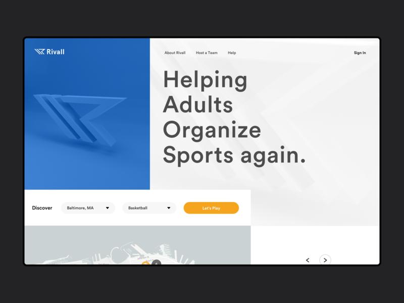 Rivall Web ui sports landing website web design white blue
