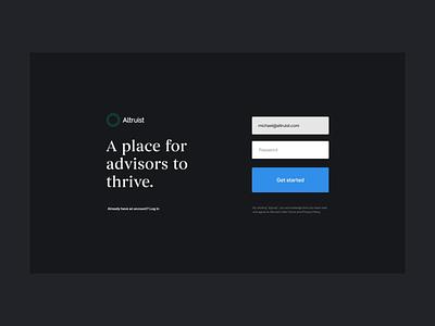 Altruist Signup white black gray blue web design ui