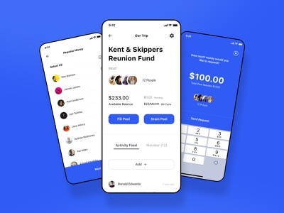 Pool App design inspiration gray blue white mobile ios app money ui ios