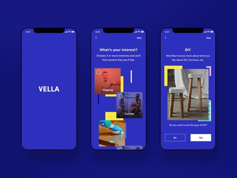 Vella Onboarding inspiration app mobile ios ui design