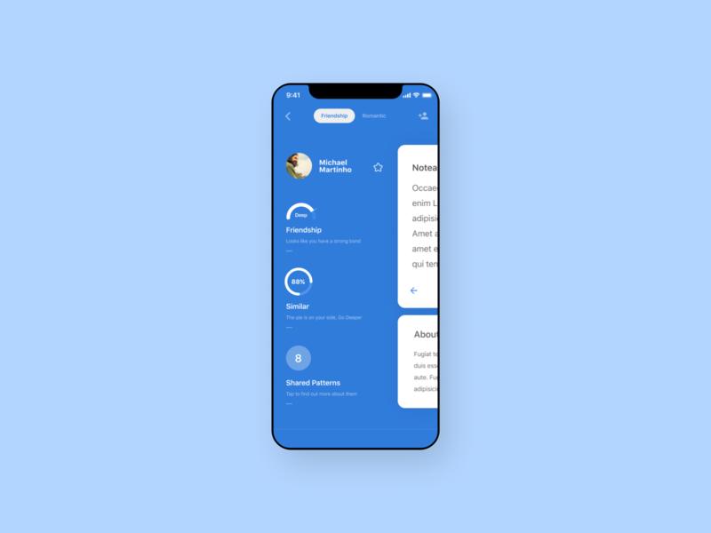 Friends Profile blue white mobile ios ui design