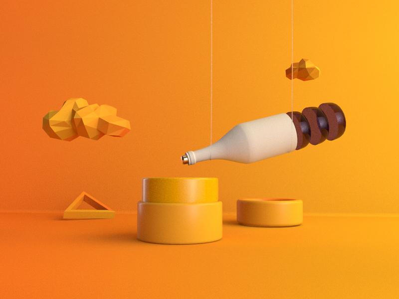 C4DA wine scene orange bottle cinema4d 3d design
