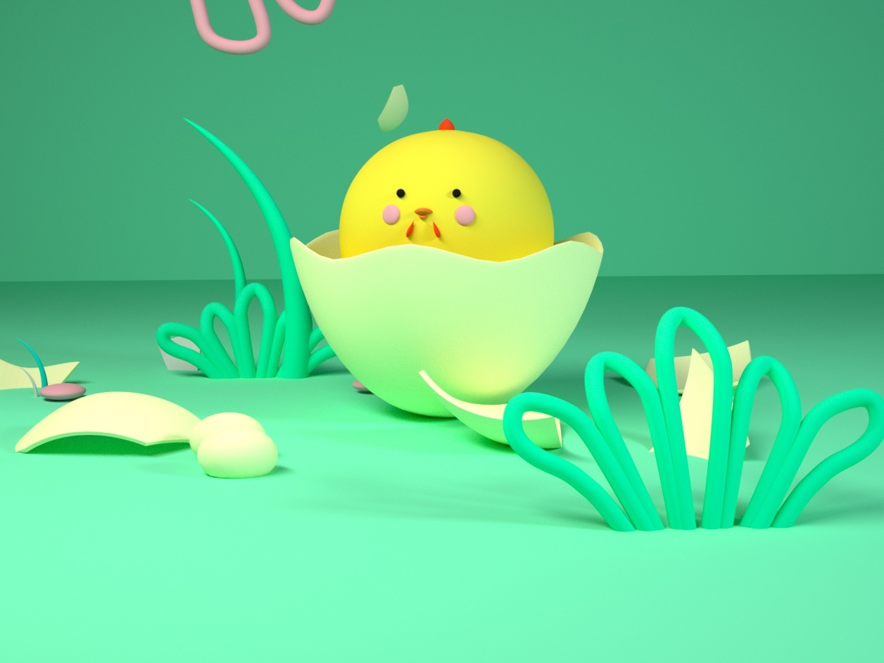 Newly hatched chickens c4d