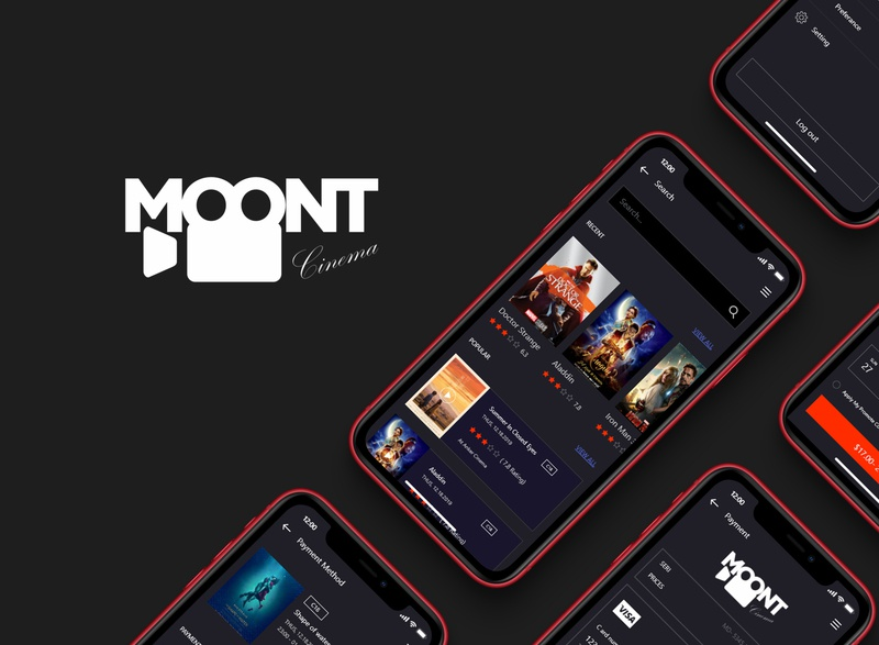 Moont Cinema - logo and app design by we9designer clean designer freelancer freelancerdesigner baku azerbaijan iphone11 iphone ios logo website web design appdesigner app appdesign cinema cinemaapp ux ui design