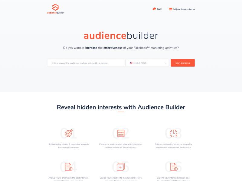 Homepage audiencebuilder saas landing page design branding ux-ui