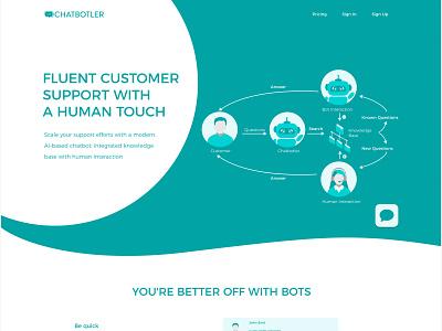 Chatbotler: fluent customer support with bots ux clean design support bot chatbot front end design ux-ui branding