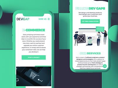 DevGap.uk - new website - and improved color scheme uxui development agency development ecommerce clean website devgap