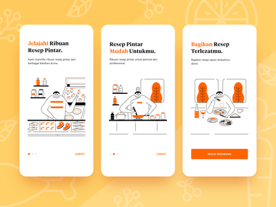 Onboarding Cooking App ui intro onboard kitchen chef people human network social app recipe food cooking simple outline line illustration