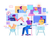 Work From Home vector 2d stay home team work design flat workspace wfh work people character illustration