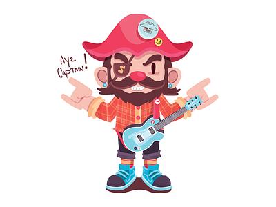 Aye Captain! wild pirate rock guitar music illustration character