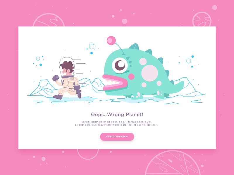 Wrong Planet error 404 website page landing space alien monster astronaut character illustration