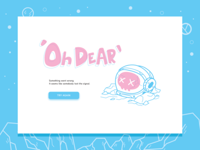 Oh Dear 2d lost landing page error space astronaut space man character illustration