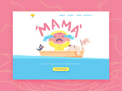 Mama ocean sea adventure page landing error 404 2d character illustration