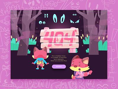 Forbidden Forest ghost night error fox forest 2d 404 character illustration