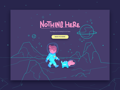 Nothing here landing page adventure space astronaut error 2d character illustration