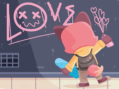 Spread love like violence peace skateboard street wall love fox character illustration