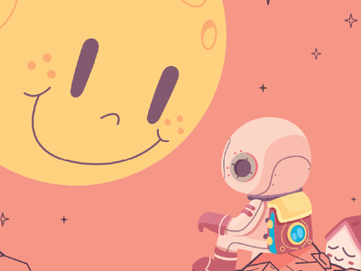 What's on your mind? saleseles home music mars space astronaut character moon illustration