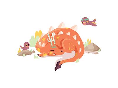 Take a nap dragon animal bird vector kidlitart monster character illustration