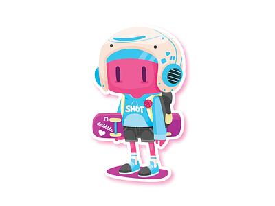 Pink Explorer mule illustration explore adventure skateboard character dribbble