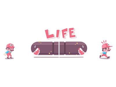 Life cute nintendo mario game 2d character illustration
