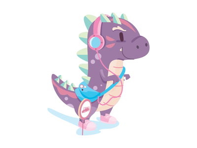 Go to School animal school cute dinosaur 2d character illustration