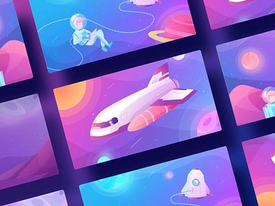 RapidWeaver desktop gradient colorful space illustration character
