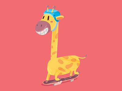 June, 21 2d cute animal giraffe skateboard character illustration