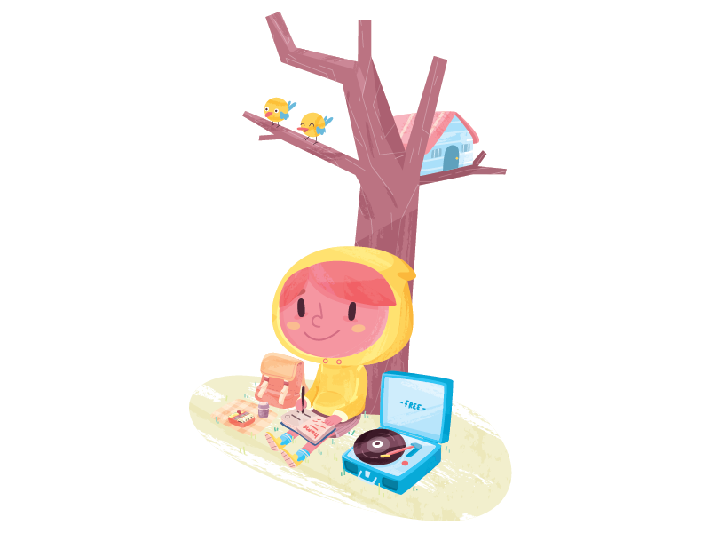 Offline picnic music adventure travel nature character illustration