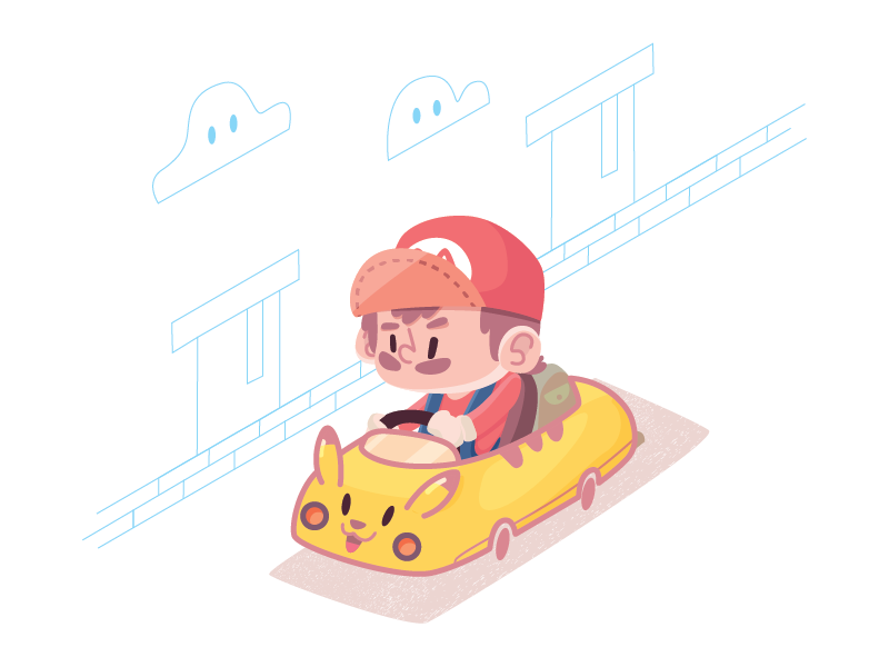 Mario + Pikachu character game pikachu mario pokemon nintendo illustration