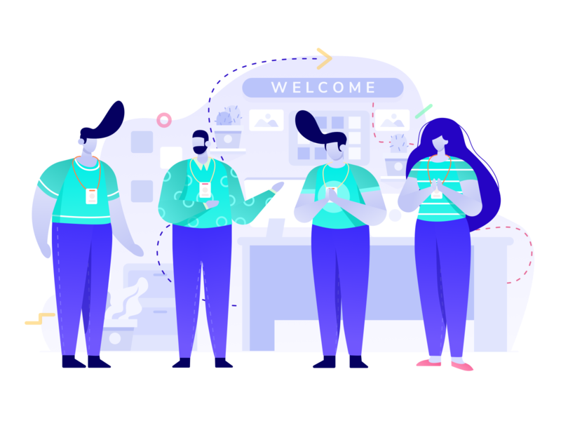 welcome teamwork office team illustration character people