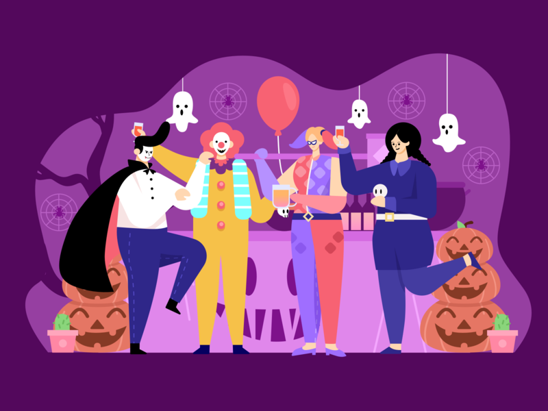Halloween Party pumkin fun monster illustration character team ghost costume people party halloween