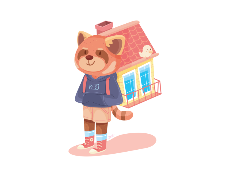 Backpacker home red panda illustration backpacker cute animal adventure character