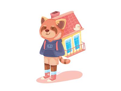 Backpacker home red panda illustration backpacker cute animal adventure character