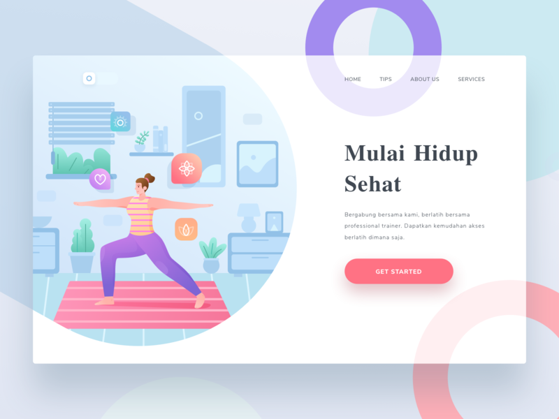Yoga Landing Page gradient landing colorful flat sport yoga health illustration character people
