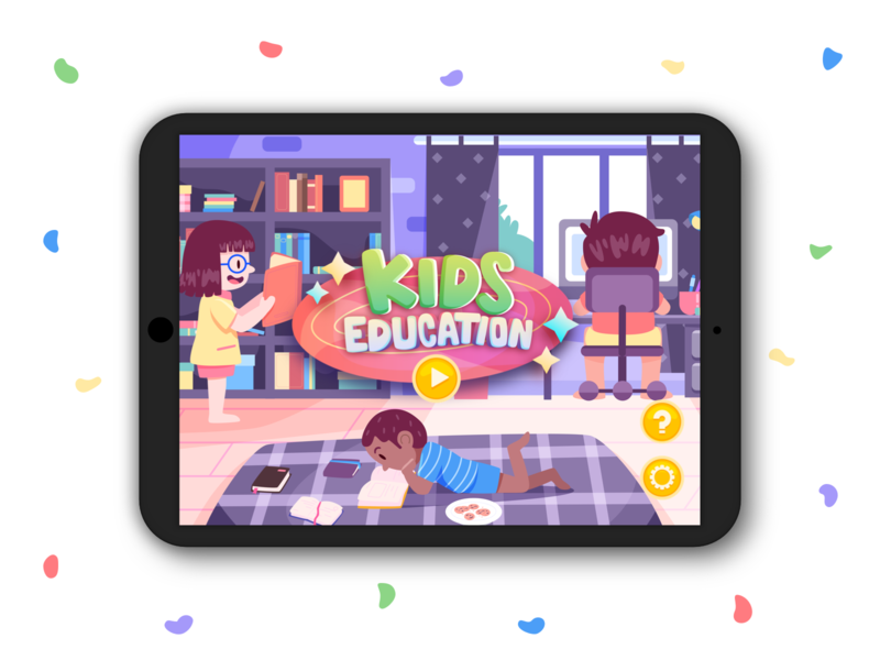 Kids Education book room apps vector education kids game design illustration character