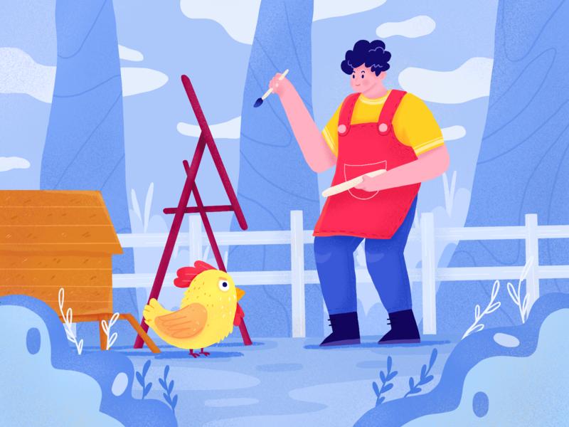 Find Inspiration painter procreate exploration nature garden chicken people character illustration