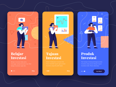 Onboarding Investment App mobile people money onboarding investments finance illustration cards app character