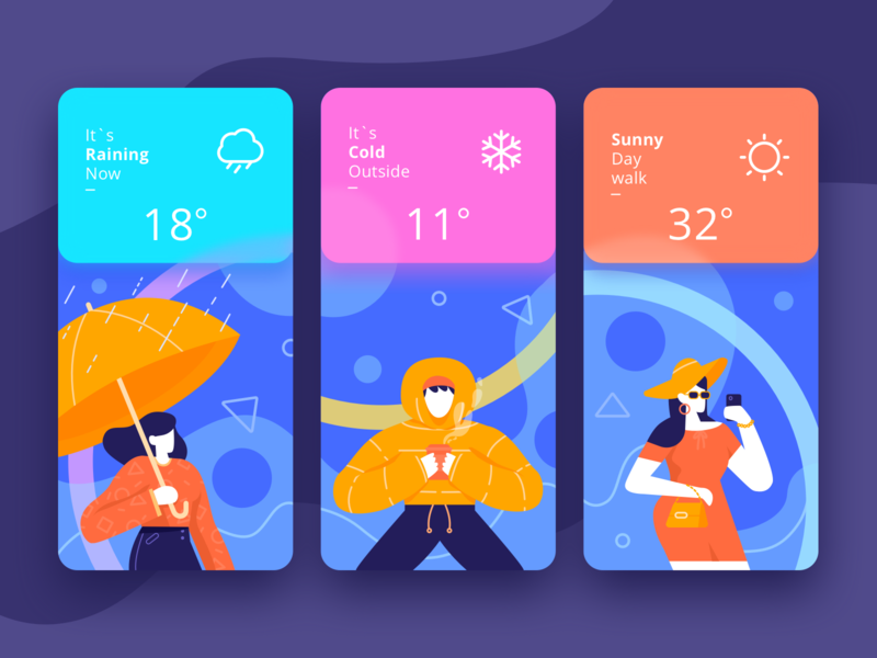 Weather App sunny cold rain weather people mobile onboarding app illustration character