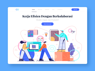 Collaboration pattern landing page design vector work people illustration teamwork collaboration character
