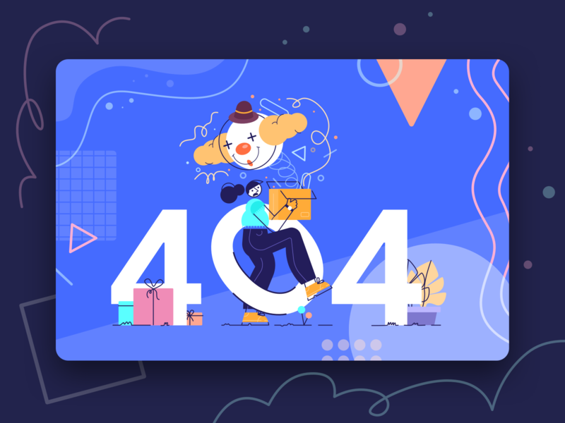 Surprise Box 404 human web kit empty state lineart pattern people box clown fun landing page lost color flat design header character illustration error 404