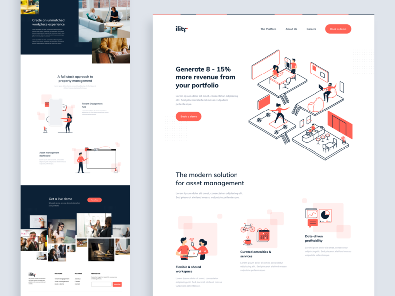 Ility Landing Page line art flat web simple desktop design homepage layouts website ux ui layout landing page character people