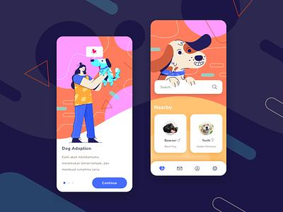 Dog Adoption App cards mobile app layout illustration design pet onboarding pattern people app dog animal