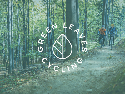 Further Green Leaves Cycling exploration cycling symbol branding logo