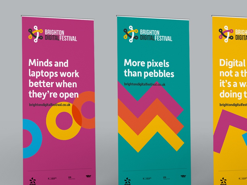 Pull-up stands for the Brighton Digital Festival 2016 illustration brand digital colour geometric brighton digital festival bdf16