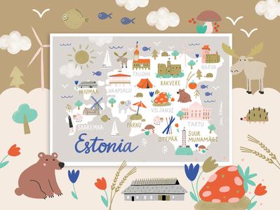 Estonian map kids bear europe country nature character illustration travel traveling map