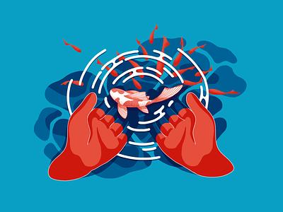 Holding a fish select drawing digital illustration digital painting digital lake choose fish ripple holding water hands design illustration